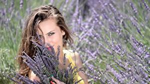 Bilder Lavendel Braunhaarige Blick Lächeln Maniküre Schön Mädchens
