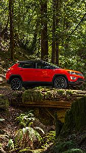 Papel de Parede Desktop Jeep Vermelho Lateralmente 2017 Compass Trailhawk Carros