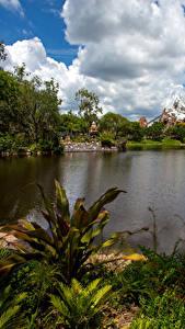 Hintergrundbilder Vereinigte Staaten Disneyland Park Teich Kalifornien Anaheim Wolke Natur