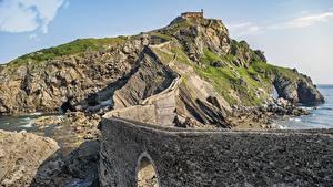 Fotos Brücken Insel Spanien Felsen Biscay, Gaztelugatxe, municipality of Bermeo Natur