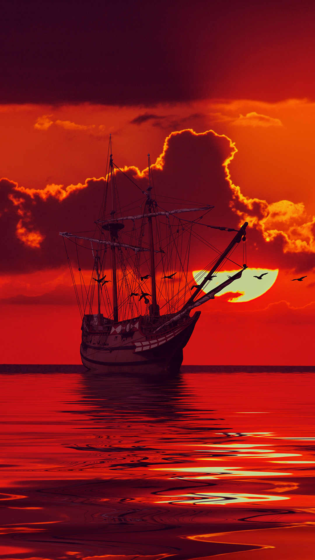 Bilder Rot Meer Sonne 3D-Grafik Himmel Schiffe Segeln Wolke 1080x1920
