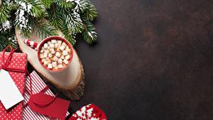 Bilder Neujahr Ast Tasse Marshmallow Geschenke Lebensmittel