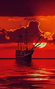 壁纸、、船、セーリング、海、空、雲、赤、太陽、3Dグラフィックス