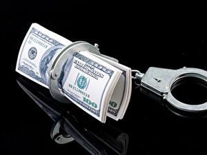 Hintergrundbilder Geld Banknoten Dollars Schwarzer Hintergrund Handschellen