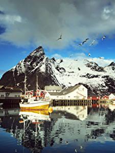 Hintergrundbilder Norwegen Lofoten Gebirge Haus Seebrücke Möwen Motorboot Wolke Reine