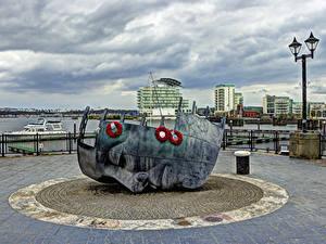Fotos Vereinigtes Königreich Gebäude Denkmal Straßenlaterne Cardiff Städte