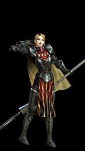 Bilder Krieger Bladestorm Speer Schwarzer Hintergrund Rüstung Nightmare, Philippa (England) Spiele Mädchens Fantasy 3D-Grafik