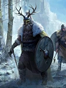 Bilder Krieger Winter Wikinger Schild (Schutzwaffe) Helm Fantasy