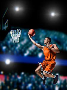 Hintergrundbilder Basketball Mann Sprung Ball Uniform sportliches