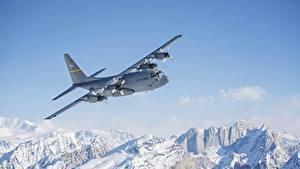 Pictures Alaska Mountains Airplane Snow Flight C-130 Hercules Aviation