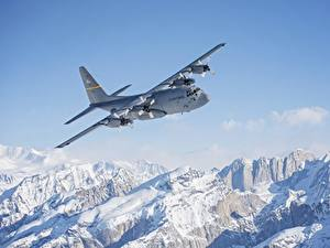 Pictures Alaska Mountains Airplane Snow Flight C-130 Hercules Aviation