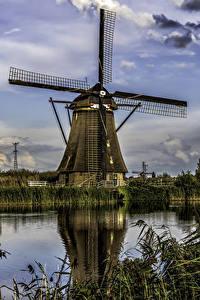 Bilder Niederlande Fluss Haus Himmel Windmühle Kinderdijk Natur