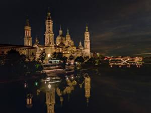 Fotos Spanien Gebäude Flusse Nacht Zaragoza Städte