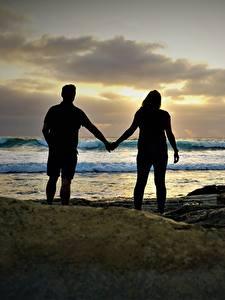 Hintergrundbilder Küste Stein Paare in der Liebe Meer 2 Silhouette