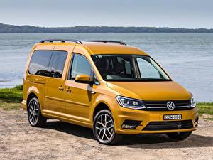 Hintergrundbilder Volkswagen Gelb Metallisch 2019 Caddy Beach Maxi Autos