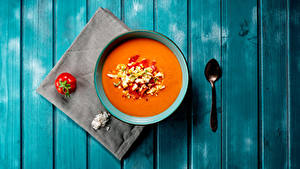 Bilder Suppe Tomate Bretter Teller Löffel