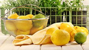 Fotos Zitrone Limette Bretter Weidenkorb
