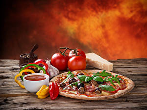 Bilder Fast food Pizza Tomate Knoblauch Peperone