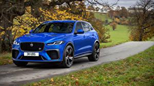 Fotos Jaguar Straße Blau Metallisch Fahren Crossover F-Pace SVR, 2020 automobil