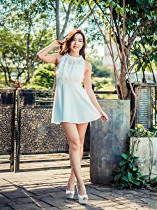 Fotos Asiatisches Posiert Kleid Blick Mädchens