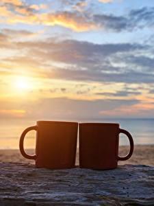 Hintergrundbilder Sonnenaufgänge und Sonnenuntergänge Himmel Meer Becher Zwei Strände Sand