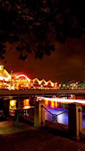 Bilder Singapur Brücke Haus Nacht Straßenlaterne Zaun