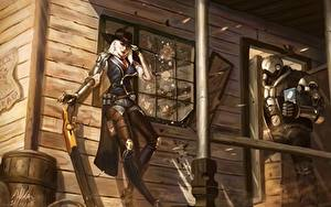 Hintergrundbilder Krieger Overwatch ashe bob elizabeth caledonia Mädchens