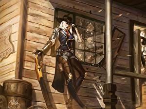 Hintergrundbilder Krieger Overwatch ashe bob elizabeth caledonia Spiele Mädchens