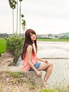 Wallpaper Asiatic Brown haired Sitting Blurred background Girls