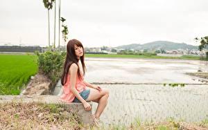 Fotos Asiaten Braune Haare Sitzen Unscharfer Hintergrund Mädchens