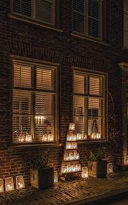 Fotos Niederlande Haus Neujahr Straße Laterne Nacht Buren Guelders