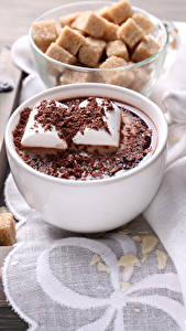 Papéis de parede Chocolate quente Zefir Chocolate Marshmallow Chávena Açúcar Alimentos