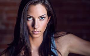 Hintergrundbilder Starren Model Gesicht Haar Brünette Schön Janna Breslin
