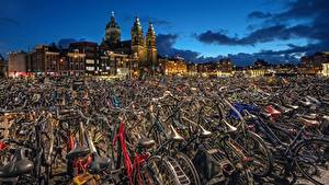 Fotos Amsterdam Niederlande Fahrrad HDR North Holland Städte