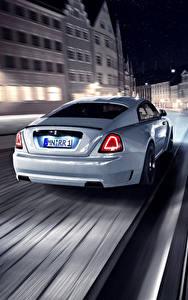 Hintergrundbilder Rolls-Royce Hinten Nacht Bewegung Weiß Wraith Spofec Autos