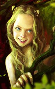 Fotos Kleine Mädchen Lächeln Ast Fantasy