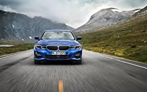 Bureaubladachtergronden BMW Vooraanzicht Blauw kleur Bewegende 3-series M Sport G20 auto's