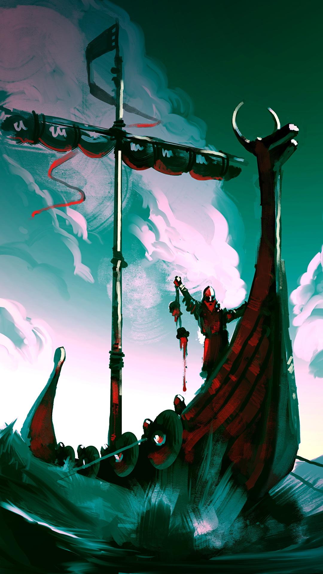Image Viking Warrior Fantasy Ship Sailing 1080x1920
