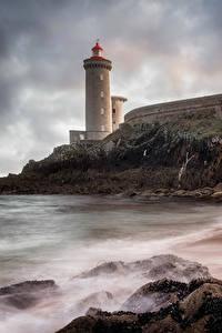 Bilder Frankreich Brücken Leuchtturm Steine Abend Plouzane Brittany Natur