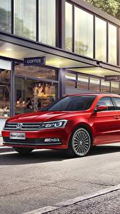 Bilder Volkswagen Rot Metallisch 2015-17 Lavida Autos
