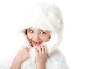 Bilder Weißer hintergrund Kleine Mädchen Mütze Hand Starren Kinder