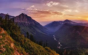 Hintergrundbilder Vereinigte Staaten Park Sonnenaufgänge und Sonnenuntergänge Gebirge Wälder Flusse Landschaftsfotografie Glacier National Park