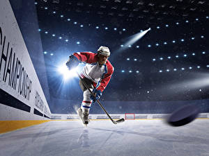 Wallpaper Hockey Men Ice Uniform Helmet Rays of light Ice rink