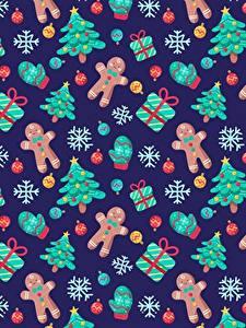 Bilder Neujahr Textur Kekse Weihnachtsbaum Geschenke