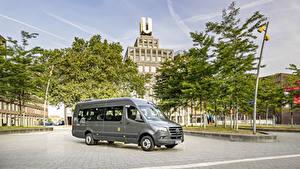 Bureaubladachtergronden Mercedes-Benz Autobus Grijs 2019 Sprinter Transfer Auto