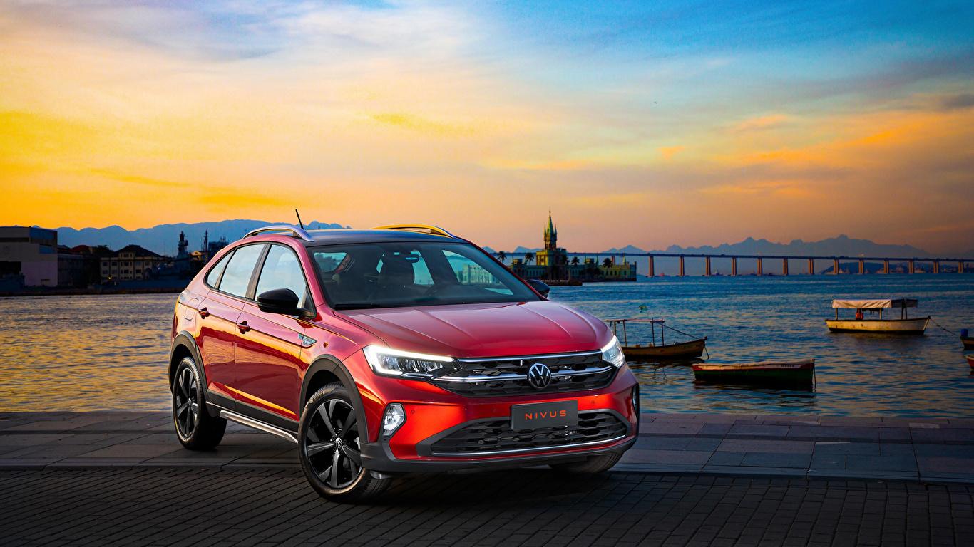 Desktop Hintergrundbilder Volkswagen 2020 Nivus Highline 200 TSI Launching Edition Latam Rot automobil Metallisch 1366x768 auto Autos