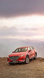 Hintergrundbilder Mazda Rot 2016 CX-9 GT Autos