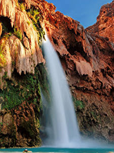 Bilder USA Grand Canyon Park Park Wasserfall Felsen Laubmoose Natur