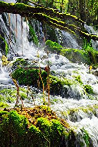 Sfondi desktop Cina Valle del Jiuzhaigou Parco Cascata I muschi Natura