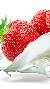 Fotos Erdbeeren Milch 2 Weißer hintergrund Lebensmittel